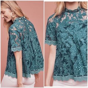HD in Paris Turquoise Lace Meadow Blouse